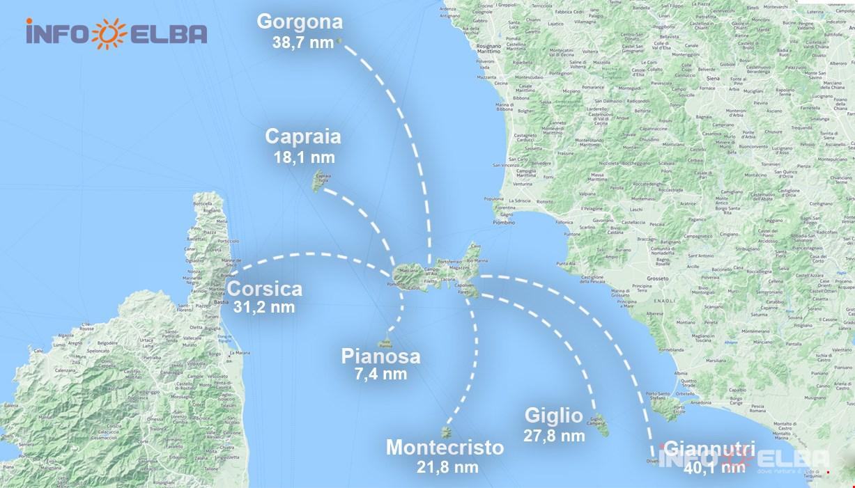 Elba Karte.Karten Und Entfernungen Zwischen Elba Und Den Anderen Inseln Des