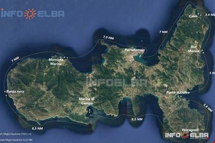 Distanze tra i principali porti, approdi e spiagge dell'Isola d'Elba