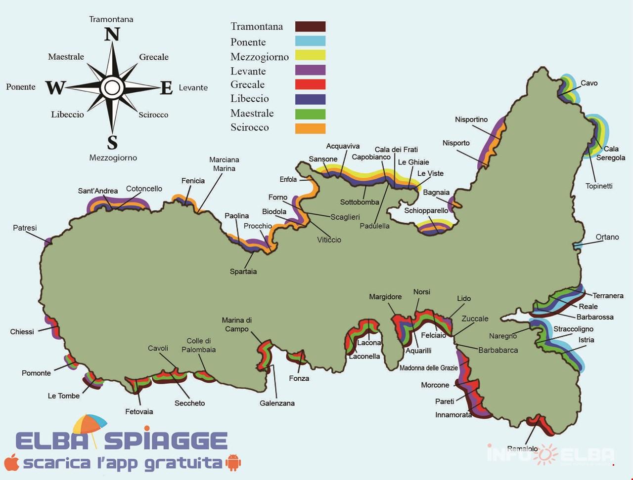Cartina Elba Isola.Spiagge Dell Isola D Elba Consigliate A Seconda Del Vento